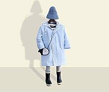 Regenmantel Feifei Kinder Eva-Material-Jungen-erneuernder Umweltschutz im Freien Mädchen-beweglicher windundurchlässiger Regenschutz-Sonnenschutz-Reise-Blau-Gelb-Rosa (Farbe : Blau, Größe : M)