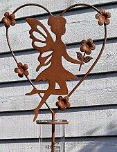 Regenmesser Elfe m.Herz und Blumen Gartenstecker