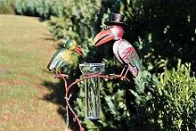 Regenmesser Gartenstecker Rabenpaar Vogel Metall