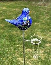 Regenmesser Vogel blau Glas H 132 cm Gartenstecker