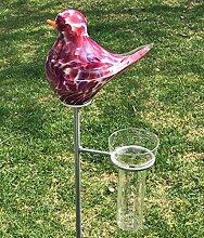 Regenmesser Vogel Malve Glas H 132 cm