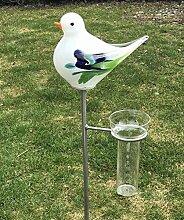 Regenmesser Vogel Mint Glas H 132 cm Gartenstecker