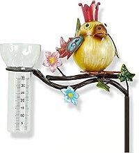Regenmesser Zaunkönig Vogel Metall / Gartenstecker Gartendeko bunt. Von Haus der Herzen®
