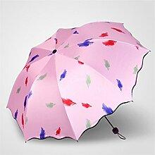 Regenschirm Fold Regen und Regen Regenschirm Weibliche Anti-UV-Regenschirme Vinyl Sonnenschutz Sonnenschirm ( Farbe : #7 )