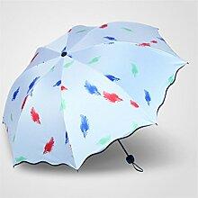 Regenschirm Fold Regen und Regen Regenschirm Weibliche Anti-UV-Regenschirme Vinyl Sonnenschutz Sonnenschirm ( Farbe : #4 )