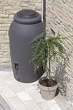 Regentonne Wassertonne Regenfass Wassertank Amphore 210L mit Wasserhahn (Anthrazit)
