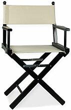 Regiestuhl aus Holz schwarz mit Stoff creme–Regisseur P