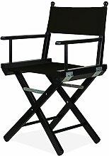 Regiestuhl schwarz mit Stoff schwarz–Regisseur P aus Holz