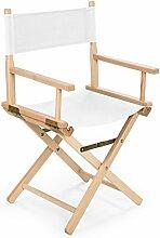 REGIESTUHL Stuhl aus Holz Campingstuhl (weiß)
