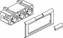 Rehau Elektro. Inst.–Zeichen Beispiel 3x Ausgang 17300281610lgr m. Beschrift. feld Steckdose