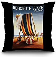 Rehoboth Beach, Delaware - Beach Chair and Ball (18x18 Spun Polyester Pillow Cover, Custom Border)