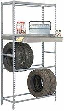 Reifenregal S - Garage Box Megaplus mit Schublade, Fachböden und Ablageflächen in Grau - Maße: 200 x 120 x 40 cm (H x B x T)