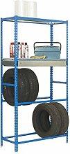 Reifenregal S - Garage Box Plus mit Schublade, Ablagefläche und Fachböden in Blau/Verzinkt - Maße: 200 x 100 x 40 cm (H x B x T)