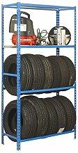 Reifenregal S - Garage Megaplus mit Ablagefläche und Fachböden in Blau/Verzinkt - Maße: 200 x 120 x 40 cm (H x B x T)