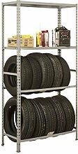 Reifenregal S - Garage Megaplus mit Ablagefläche und Fachböden in Grau - Maße: 200 x 120 x 40 cm (H x B x T)