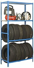 Reifenregal S - Garage Plus mit Ablageflächen und Fachböden in Blau/Verzinkt - Maße: 200 x 100 x 40 cm (H x B x T)