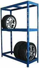 Reifenregal / Steckregal 180 x 130 x 50 cm, blau,