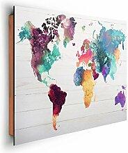 REINDERS Weltkarte in Wasserfarben - Wandbild 90 x