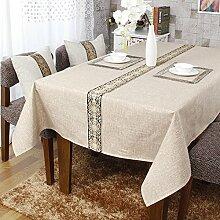 Reine Baumwolle Spitze Tischdecke streifen Europäischen hochwertige Couchtisch Tuch Tuch Konferenz am runden Tisch TV-Schrank, Bettwäsche, 140 x 240 cm