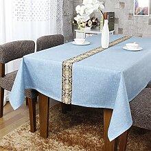 Reine Baumwolle Spitze Tischdecke streifen Europäischen hochwertige Couchtisch Tuch Tuch Konferenz am runden Tisch TV-Schrank, Himmelblau, 140 * 240 cm