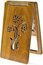 Reine natürliche grüne Ebenholz-Make-up-Spiegel flip filigrane Spiegel portable Karte Holz Spiegel-A