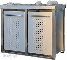 Reinkedesign Mülltonnenbox aus Edelstahl mit