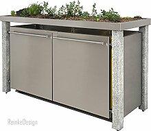 Reinkedesign Mülltonnenbox mit Granitpfosten &