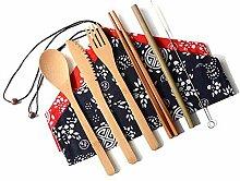 Reise-Besteck-Set, Servierbesteck aus Bambus,