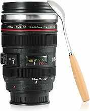 Reise-Kaffeetasse mit Löffel, Kamera-Objektiv-Kaffeetassen Kaffeetassen Becher Tasse mit Deckel-Edelstahl-Trommel-Schale Auslaufsicherer breiter Mund für Kaffee-Milch-Tee Wasser - ideales Geschenk Cano EF24-105mm f / 4L IS USM Objektiv