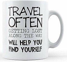 Reise oft bedruckte Tasse
