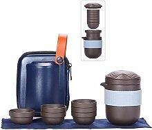 Reise-Teesets, lila Ton, tragbare Teekanne für