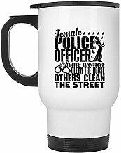 Reisebecher Polizistin Reisebecher, Stahlbecher,