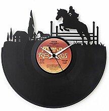 Reitsport, Geschenkidee, Vinyl Schallplatten-Uhr,