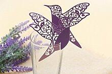 reixus Card (TM) 20pcs Bella Vogel fliegen Tasse des Wein-Glas-Papier für die Party/Dekoration der Tabelle/Home Decor Name Ort Karten [violett] viole