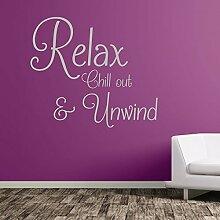 Relax Chill Unwind Aufkleber Schlafzimmer Badezimmer Bad Text Wand Aufkleber wasserdicht 364, Vinyl, silber, Medium-Se