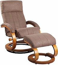 Relax Sessel dunkelbraun/ natur mit Hocker