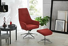 Relax Sessel, Fernsehsessel, TV Sessel, Funktionsessel, inkl. Hocker, Loungesessel, Lesesessel, Relaxliege, Webstoff, Chrom, rot, drehbar, verstellbar