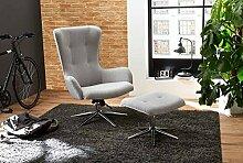 Relax Sessel, Fernsehsessel, TV Sessel, Funktionsessel, Mit Hocker, Loungesessel, Lesesessel, Relaxliege, Webstoff, hellgrau