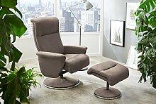 Relax Sessel, Fernsehsessel, TV Sessel, Funktionsessel, Mit Hocker, Loungesessel, Lesesessel, Relaxliege, Microfaser, Chrom, beige, Polsterung