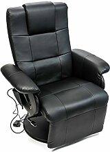Relax-Sessel mit Vibrationsmassage, Sitzheizung und Timer, Lehne und Fußteil manuell verstellbar, LCD-Fernbedienung, 6 Massage-Modi, Patchwork-Design, Kunstleder, schwarz
