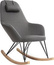 Relax-Sessel - Schaukelstuhl Stoff Grau Füße