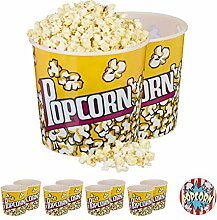 Relaxdays 10 x Popcorn Eimer, XXL Popcorn Bowl