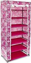 Relaxdays 10017177 Faltschrank Stoff 7 Ebenen buntes Design Stecksystem, rosa