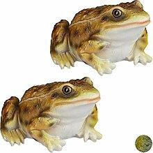 Relaxdays 2 x Gartenfigur Frosch, wetterfest, für