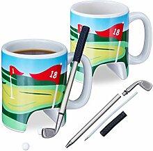 Relaxdays 2X Golftasse mit Schläger, Putter mit