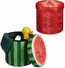 Relaxdays 2x Sitzhocker Obst, Sitzwürfel rund, Falthocker mit Stauraum, Klapphocker, HBT ca. 38 x 38,5 x 38,5 cm, Melone, Erdbeere