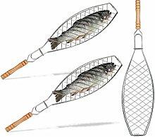 Relaxdays 3X Fischbräter im Set, 50 cm lang,