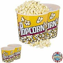 Relaxdays 4 x Popcorn Eimer, XXL Popcorn Bowl für