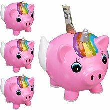 Relaxdays 4 x Spardose Schweinhorn,