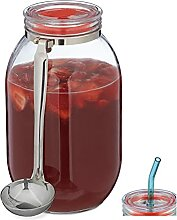 Relaxdays Aufbewahrungsglas 3 Liter, Bowle Glas